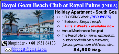 Royal Goan Beach Club at Royal Palms - $4500