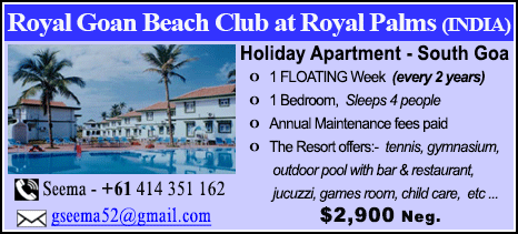 Royal Goan Beach Club at Royal Palms - $2900