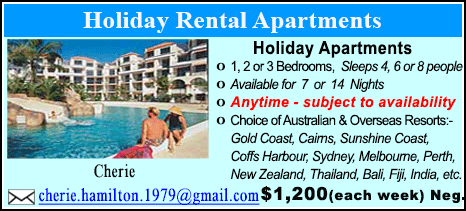 Holiday Rental Apartment - $1200
